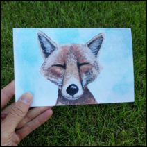 """Smiling Fox"" greeting card with envelope"